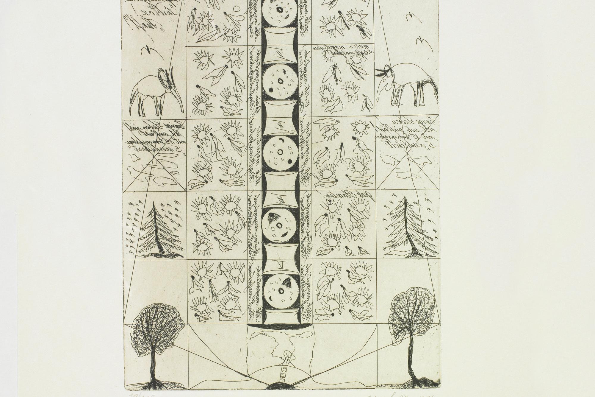 Franz Artenjak, Radierung, 1969  © Privatstiftung – Künstler aus Gugging