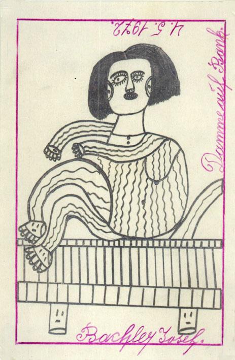 Josef Bachler, Damme auf Bank, 1972 © © Privatstiftung – Künstler aus Gugging