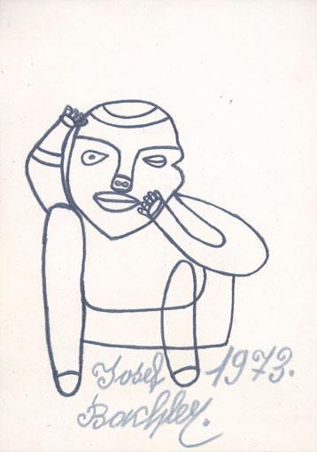 Josef Bachler, Sitzender Mensch, 1973 © © Privatstiftung – Künstler aus Gugging