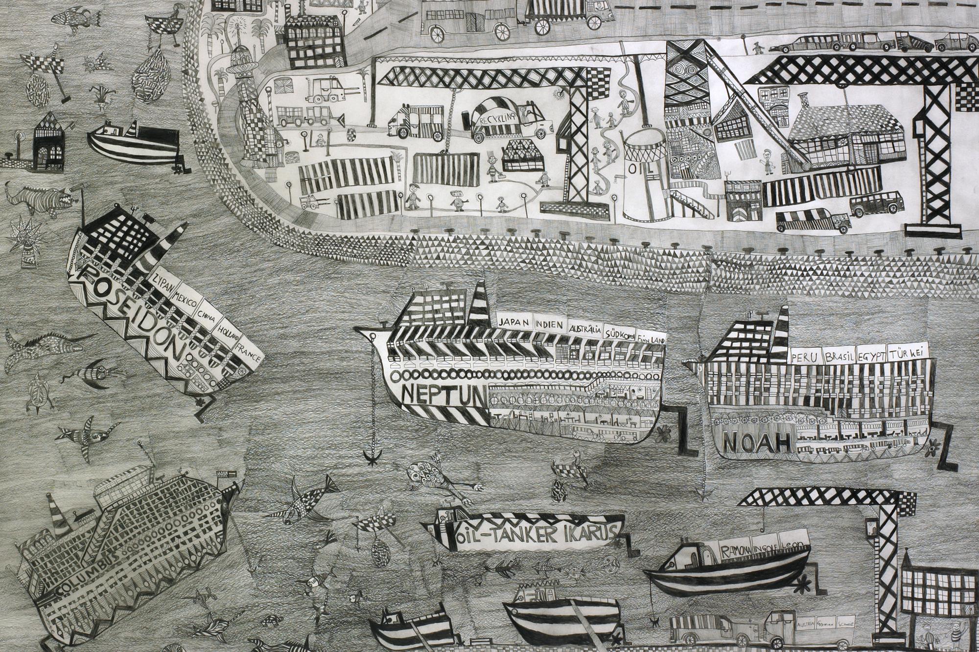 Leonhard Fink, Der Hafen von Athen, 2010 © galerie gugging