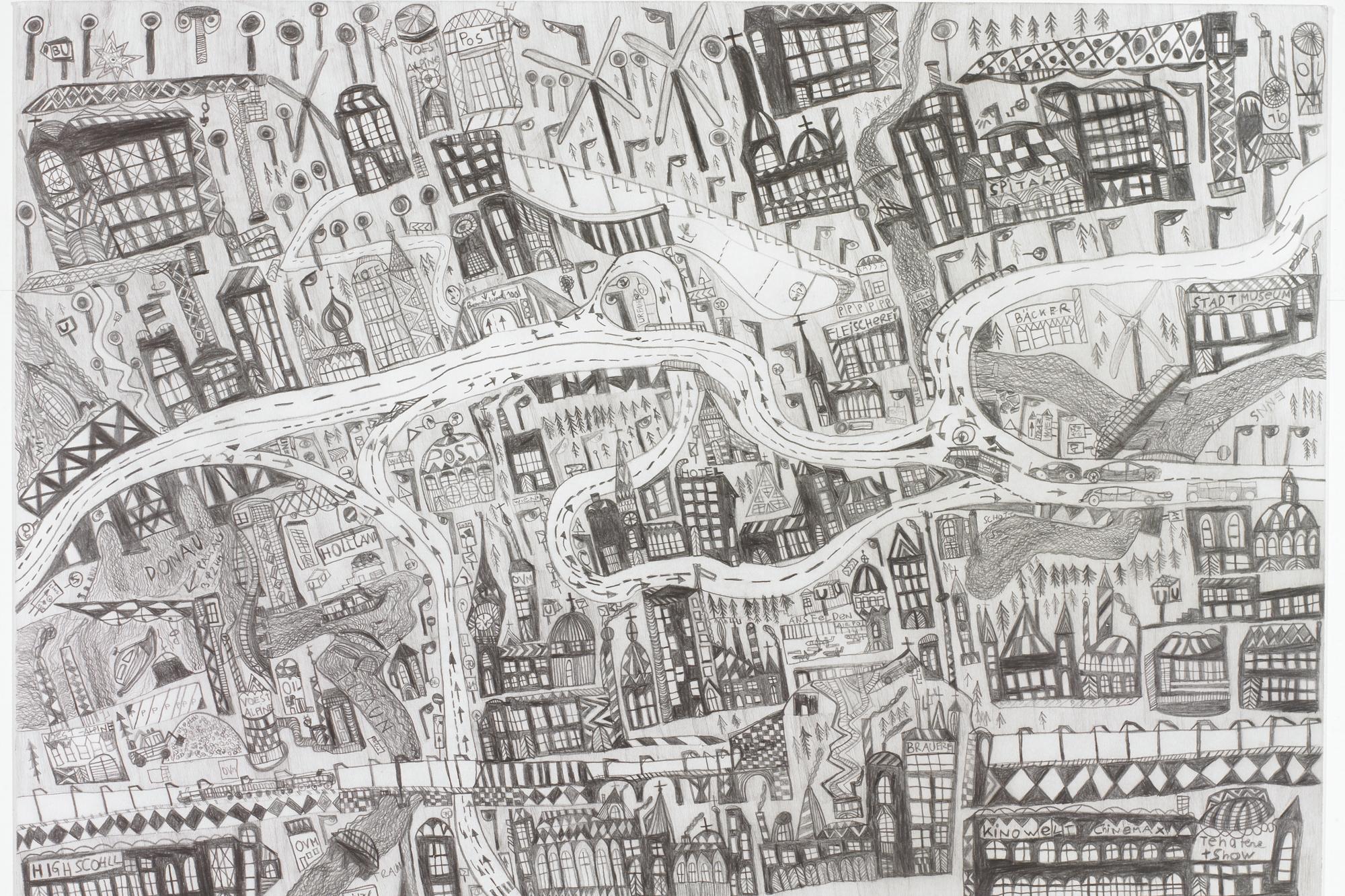 Leonhard Fink, Die Karte von der Stadt Linz in Oberösterreich, 2014  © galerie gugging