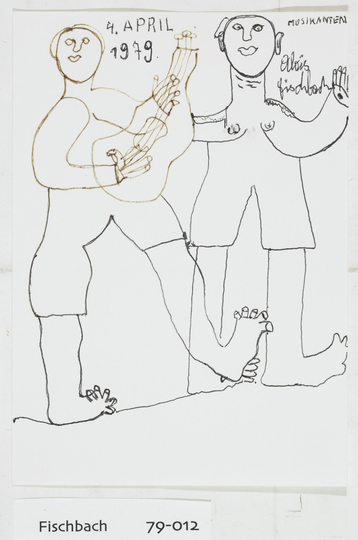 Alois Fischbach, Musikanten, 1979 © Privatstiftung - Künstler aus Gugging