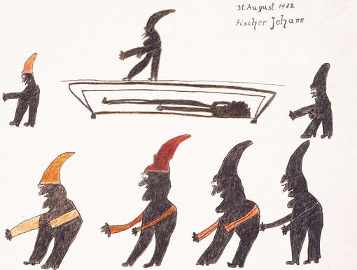 Johann Fischer, Die sieben Zwerge, 1982 © Privatstiftung - Künstler aus Gugging