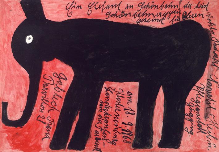 Franz Gableck, Elefant, 1968 © Privatstiftung – Künstler aus Gugging