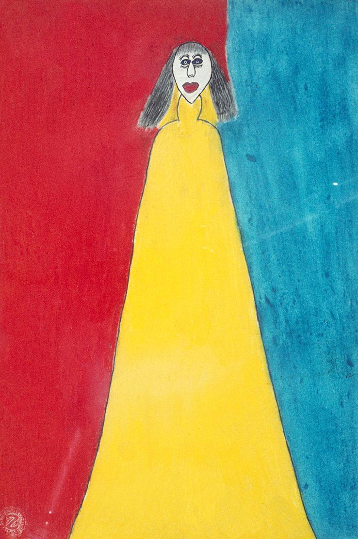 Johann Hauser, Mädchen im gelben Kleid 2, 1967 © Privatstiftung - Künstler aus Gugging