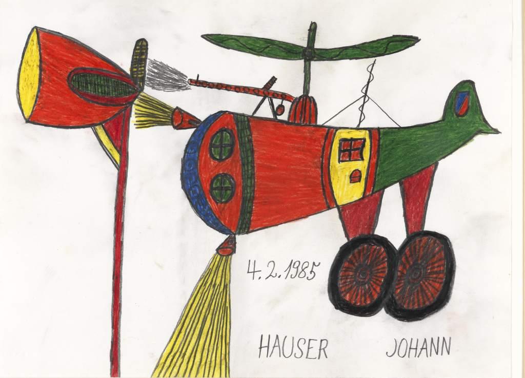 Johann Hauser, Hubschrauber, 1985 © Privatstiftung – Künstler aus Gugging