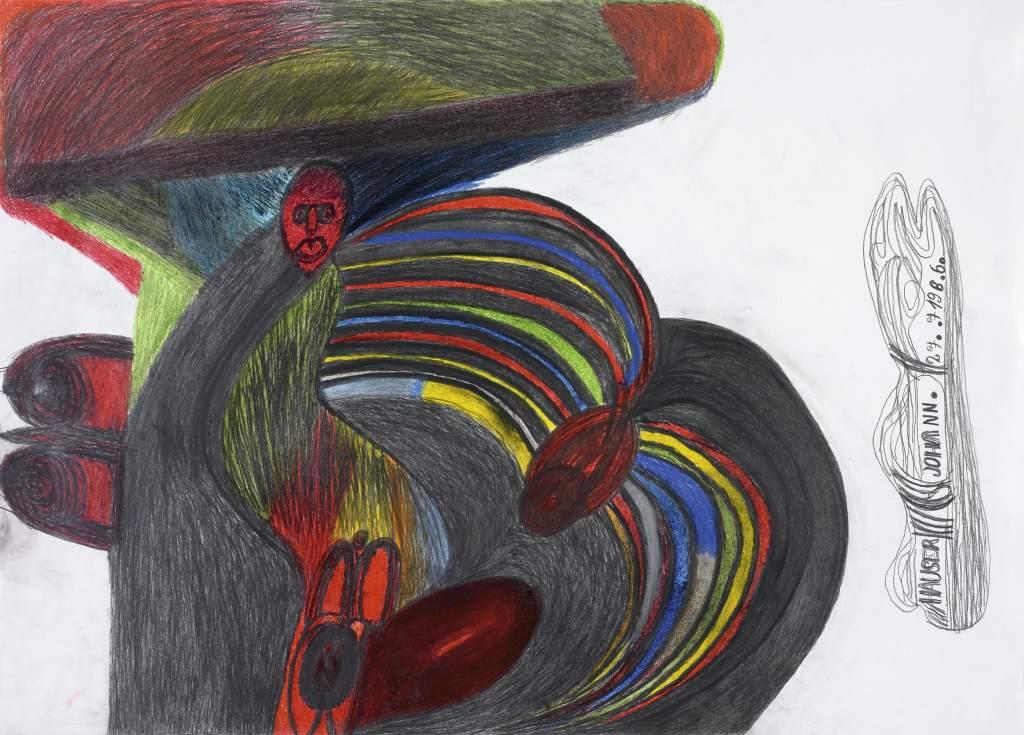 Johann Hauser, Nackte Frau mit Hut, 1986 © Privatstiftung - Künstler aus Gugging