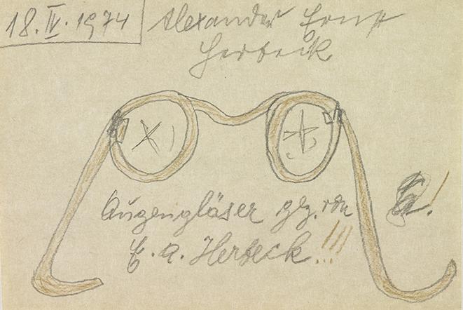 Ernst Herbeck, Augengläser, 5.4.1974 © Sammlung Johann Feilacher