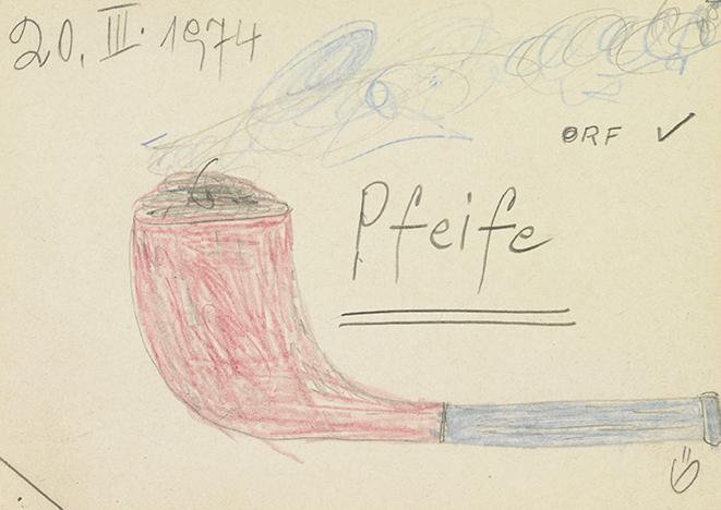 Ernst Herbeck, Pfeife, 20.3.1974 © Sammlung Johann Feilacher
