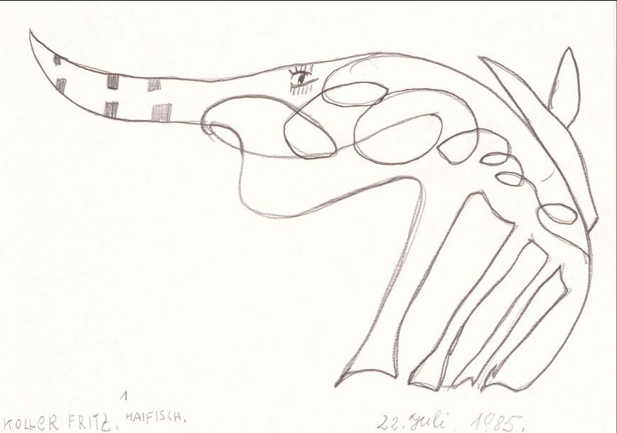 Fritz Koller, Haifisch, 1985 © Privatstiftung – Künstler aus Gugging
