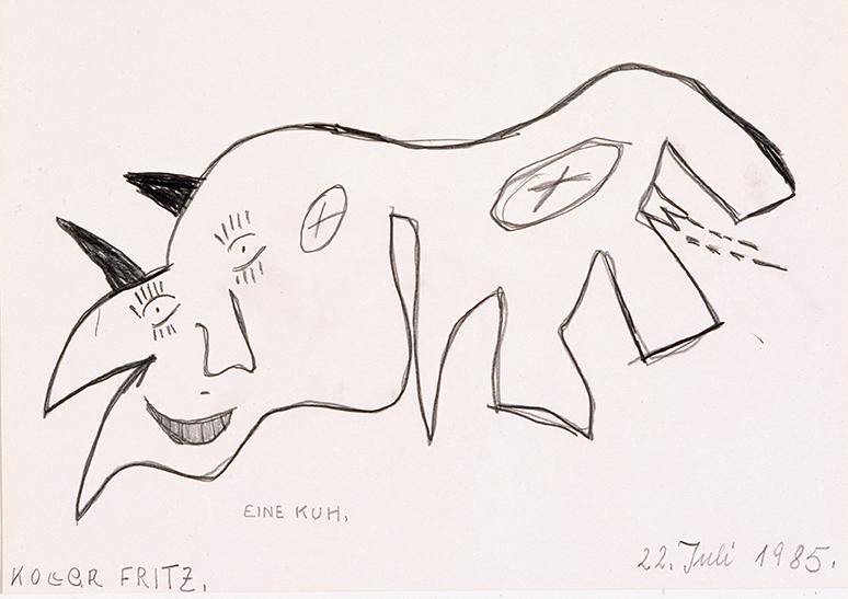 Fritz Koller, Eine Kuh, 1985 © Privatstiftung – Künstler aus Gugging