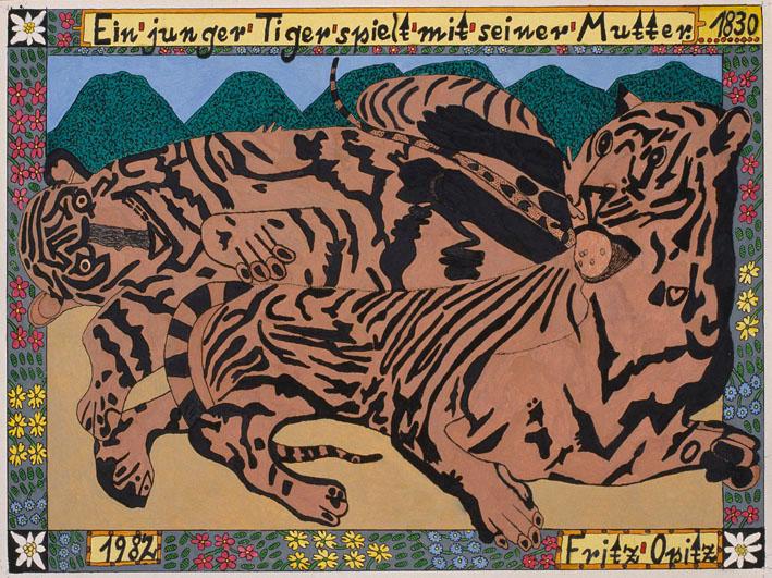Fritz Opitz, Ein junger Tiger spielt mit seiner Mutter, 1982 © Privatstiftung – Künstler aus Gugging