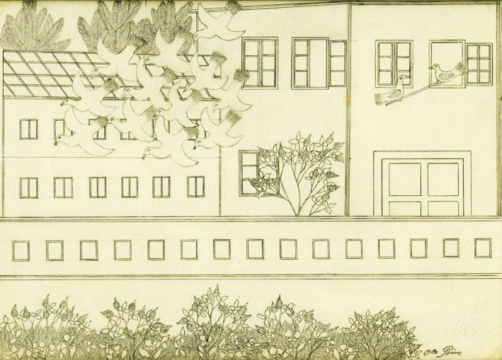 Otto Prinz, Vögel vor einem Haus, undatiert © Privatstiftung – Künstler aus Gugging