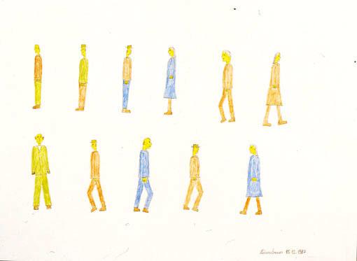 Heinrich Reisenbauer, Menschen, 1987  © Privatstiftung – Künstler aus Gugging