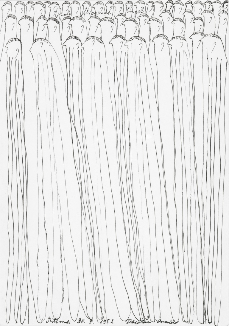 Oswald Tschirtner, Viele fliegende Engel, 1972 © Privatstiftung – Künstler aus Gugging