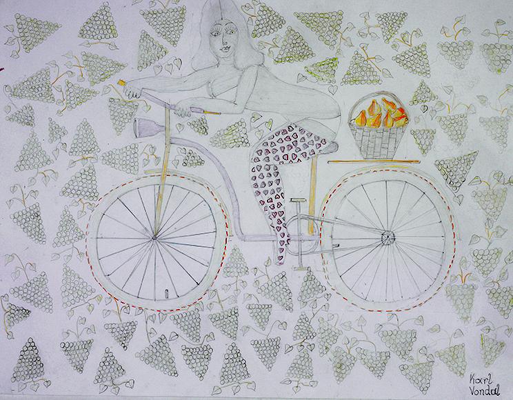 Karl Vondal, Das Fahrradbild mit Anna, 2012 © Privatstiftung – Künstler aus Gugging