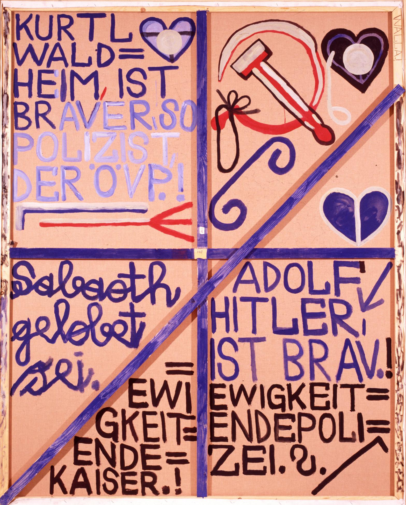 August Walla, Ewigkeitendepolizist.! (Rückseite), 1988 © Art Brut KG