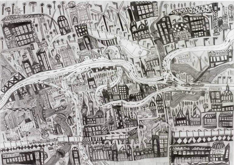 Leonhard Fink, Die Karte der Stadt Linz in Oberösterreich, 2014 © galerie gugging