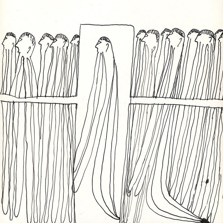 Oswald Tschirtner, Ich möchte auf einer Sänfte getragen werden, 1972 © Privatstiftung - Künstler aus Gugging