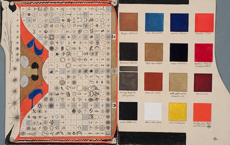 © Sammlung Prinzhorn, Universitätsklinikum Heidelberg Josef Heinrich Grebing, Ohne Titel [Farben- und Zeichentabellen], vor 1921, Feder, Deckfarben auf Zeichenkarton, 22,7 x 20,6 cm, Inv.-Nr. 624/6 recto