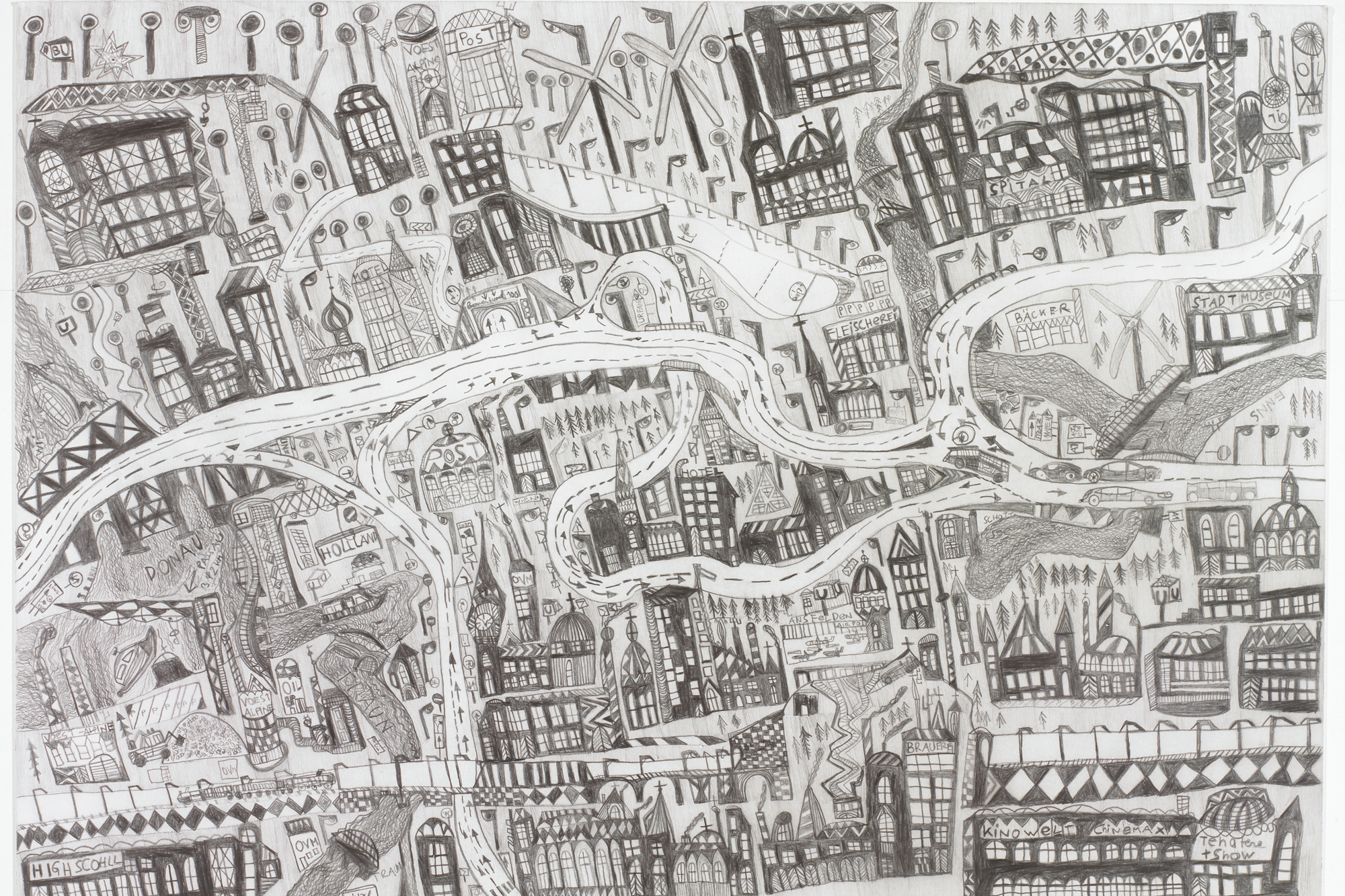 Leonhard Fink, The map of the city of Linz in Upper Austria, 2014 © galerie gugging