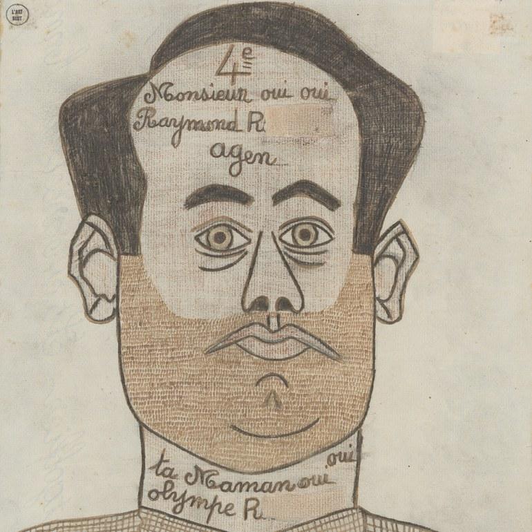 Raymond R., Selbstportrait, ca. 1948, Tinte und Farbstift auf Papier, Photo: Caroline Smyrliadis, AN, Collection de l'Art Brut, Lausanne