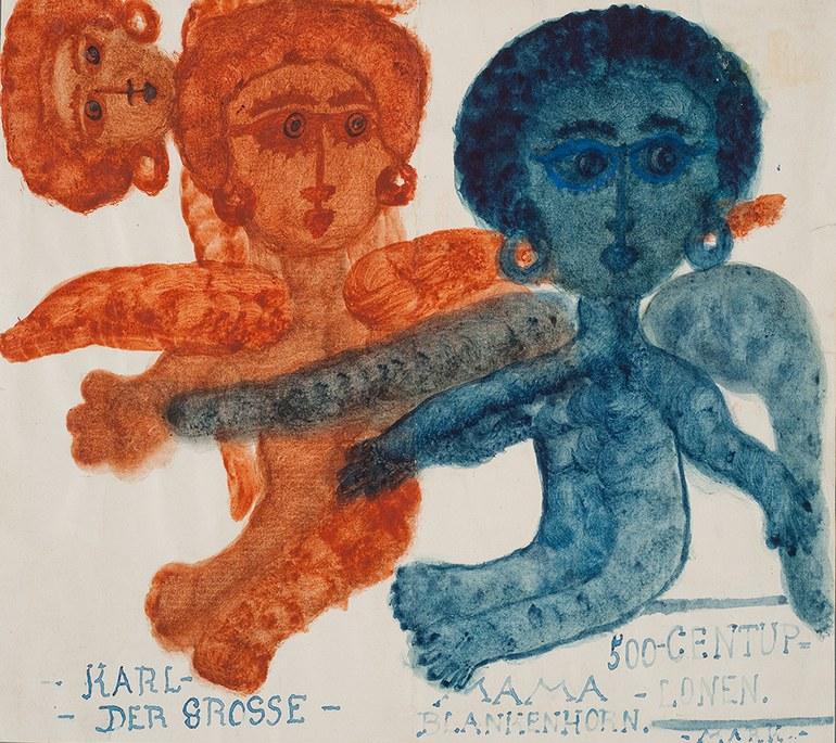 """© Else Blankenhorn, """"Karl der Grosse - Mama Blankenhorn"""" [Geldschein], vor 1921, Zeichnung, 18 x 22,8 cm, Inv.-Nr. 3497 © Sammlung Prinzhorn, Universitätsklinikum Heidelberg"""